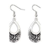 Retro National Alloy Metal Dangle Drops Earrings Silver Ear Hook Vintage Style Women Jewelry