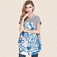Women's Print Plus Size Loose Large Size Street chic Casual T-shirt,V Neck Short Sleeve