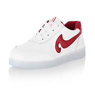 נעלי נשים-סניקרס אופנתיים-דמוי עור-מעוגל-שחור / אדום-שטח / קז'ואל / ספורט-עקב שטוח