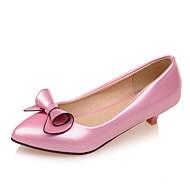 נעלי נשים-בלרינה\עקבים-עור פטנט-עקבים / שפיץ-שחור / ורוד / אדום / לבן / Almond-שמלה-עקב קצר