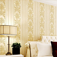 HaokHome® Modern Damask Stripe Wallpaper Rolls Cream Non Woven Heavy Textured Wall Paper Realistic Home Decoration