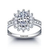 Anéis Zircônia Cubica Prata de Lei Prata de Lei Mulheres / Unisexo