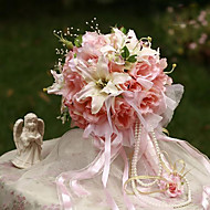 Wedding Flowers Round Roses / Lilies Bouquets Wedding / Party/ Evening Fuchsia / Pink / Red / Orange / Champagne / Peach / Cream Silk