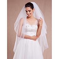 Wedding Veil Two-tier Blusher Veils / Fingertip Veils Cut Edge With Comb