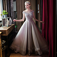 Formal Evening Dress Ball Gown Bateau Sweep / Brush Train Tulle with Beading / Bow(s) / Crystal Detailing / Pearl Detailing / Sequins
