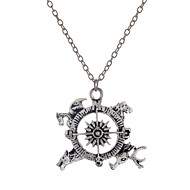 Fashion Style Antique Silver Alloy Compass Pendant Necklace