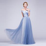 Formal Evening Dress A-line Off-the-shoulder Floor-length Tulle