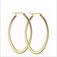 귀걸이 Oval Shape 보석류 1 쌍 패션 파티 / 일상 / 캐쥬얼 티타늄 스틸 여성 골든