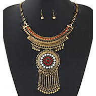 Women European Style Fashion Ethnic Shiny Rhinestone Tassel Necklace Earring Sets