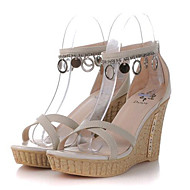 Women's Shoes Leatherette Summer Wedges Outdoor / Casual Wedge Heel Buckle / Chain Green / Beige