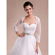Women's Wrap Shrugs 3/4-Length Sleeve Lace / Tulle Ivory Wedding / Party/Evening / Casual Lace Open Front