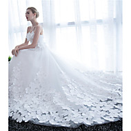 Ball Gown Wedding Dress-White Cathedral Train Strapless Satin / Tulle