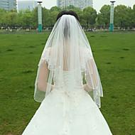 Wedding Veil Two-tier Fingertip Veils Ribbon Edge for Bridal