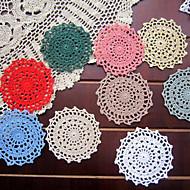 10cm Shabby Chic Floral Theme Decoration Felt Placemats Colored Fabric Cotton Doilies Round Placemats 20pcs Per Set