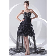 A-Line Strapless Asymmetrical Organza Cocktail Party Dress with Beading Pleats