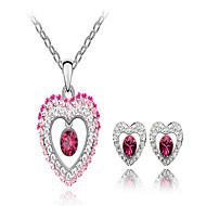 Ensemble de bijoux Cristal Cristal Pierres de naissance Blanc Violet Rouge Rose Bleu Nuptiales Parures Mariage Soirée 1setColliers