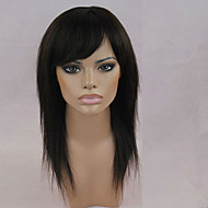hosszú haj paróka fekete női tanksapka nélküli géppel készült haj paróka