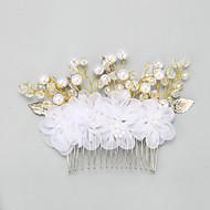 Vrouwen / Bloemenmeisje Licht Metaal / Imitatie Parel / Chiffon Helm-Bruiloft / Speciale gelegenheden Haarkammen 1 Stuk Wit Rond