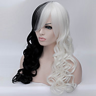 europa e os estados unidos a nova Anime Perucas alta temperatura peruca de seda de 28 polegadas preto e branco misturado cabelo