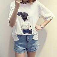 Vrouwen Eenvoudig Zomer T-shirt,Casual/Dagelijks / Grote maten Print Ronde hals Korte mouw Wit / Zwart Katoen Dun