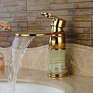 Imitation jade Ti-PVD Waterfall Single Handle One Hole Bathroom Sink Faucet