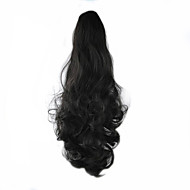 Length Black Wig 58CM Synthetic Curly High Temperature Wire Scroll Horsetail Color 4