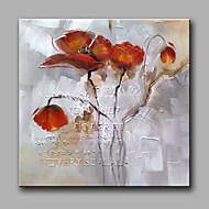 Kézzel festett Virágos / Botanikus Négyzet,Klasszikus Modern Egy elem Hang festett olajfestmény For lakberendezési