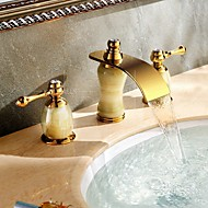 Luxury Design Waterfall Two Handles Three Holes in Ti-PVD Bathroom Sink Faucet Deck Mounted