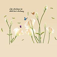 White Lily Flower Home Decoration Wall Decals Fashion Family Living Room Bedroom Florals PVC Wall Stickers