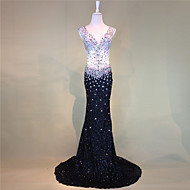 Formal Evening Dress Trumpet / Mermaid V-neck Court Train Tulle with Beading