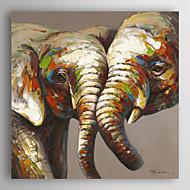 יד בעלי חי ציור שמן צבוע חובבי פילים עם מסגרת מתוחה