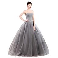 포멀 이브닝 드레스 볼 드레스 끈없는 스타일 바닥 길이 튤 / 스트래치 새틴 와 크리스탈 디테일