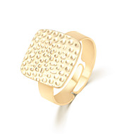 Fashion Alloy Opening Adjusted Female Golden Square Ring