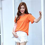Vrouwen Street chic T-shirt,Uitgaan Effen Ronde hals Korte mouw Oranje Katoen Medium