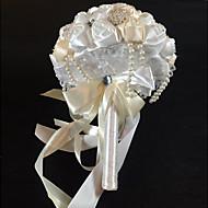 """Bouquets de Noiva Redondo Rosas Buquês Casamento Cetim / Seda / Enfeite / Strass 9.06""""(Aprox.23cm)"""