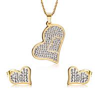 Smykke Sett Imitasjon Diamant Kjærlighed Hjerte Mote Luksus Smykker imitasjon Diamond Legering Hjerte Formet Gull Halskjeder Øreringer Til