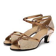 Women's Dance Shoes Latin Patent Leather / Sparkling Glitter / Paillette / Synthetic Cuban HeelBlack / Brown / Silver /