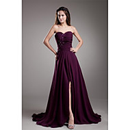 Formal Evening Dress - Furcal A-line Sweetheart Court Train Chiffon with Appliques Beading Split Front Pleats