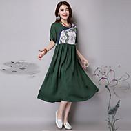 Mulheres Vestido Solto Boho / Moda de Rua Patchwork Médio Decote Redondo Linho