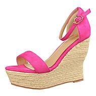 Women's Shoes Fleece Platform Wedges / Heels Heels Casual Black / Green / Pink / Gray / Orange / Coral