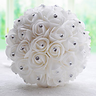 """Svatební kytice Kulatý Růže Kytice Svatba / Párty / večerní akce Polyester / Satén / imitace drahokamu 20 cm (cca 7,87"""")"""