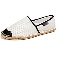 Dame-Lær-Flat hælFlate sko-Fritid-Svart Hvit
