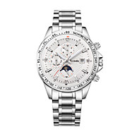 Semdu® Fashion Men Stainless Steel Noctilucent Calendar Week Stopwatch Moon Phase Water Resistant Mechanical Watch