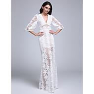 Lanting Bride® Fourreau / Colonne Robe de Mariage - Chic & Moderne Transparent Dentelle Longueur Sol Col en V Dentelle avec Dentelle