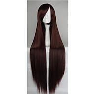 vente chaude fibres 40 pouces à haute température longue ligne droite noire cosplay costume brun côté perruque Bang