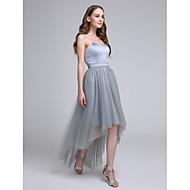 Lanting Bride® Asymmetrisch Satin / Tüll Brautjungfernkleid A-Linie Herzausschnitt mit Schärpe / Band