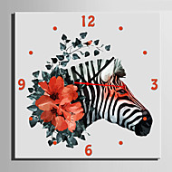 E-HOME® Zebra And Flower Clock in Canvas 1pcs