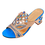 Women's Summer Heels Leatherette Outdoor / Casual Chunky Heel Crystal Black / Blue / Gold