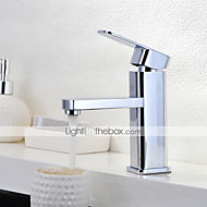 Contemporary Centerset Rain Shower with  Ceramic Valve Single Handle One Hole for  Chrome , Bathroom Sink Faucet