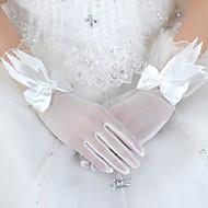 Até o Pulso Com Dedos Luva Tule Luvas de Noiva Luvas de Festa Primavera Verão Outono Floral Laço